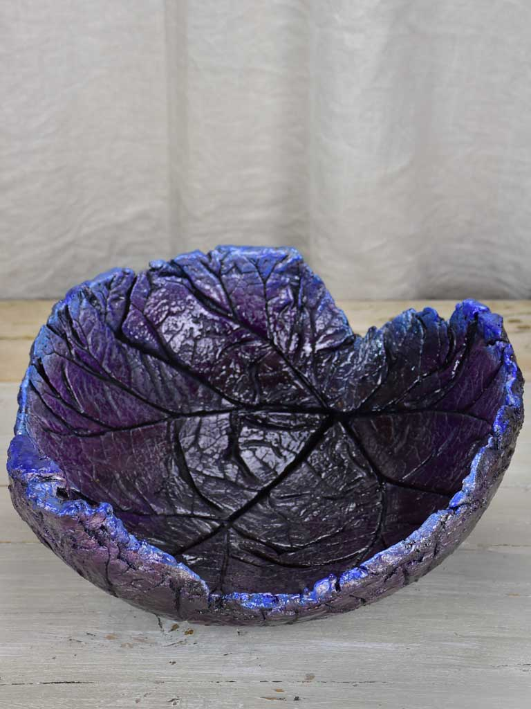 Very large artisan made leaf bowl
