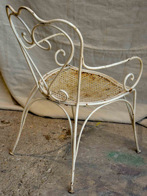 Antique French heart-back garden armchair