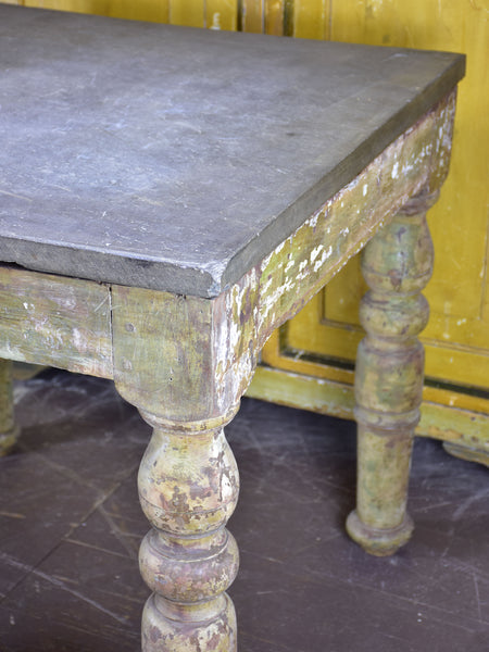 19th century square sculptor's table with slate top