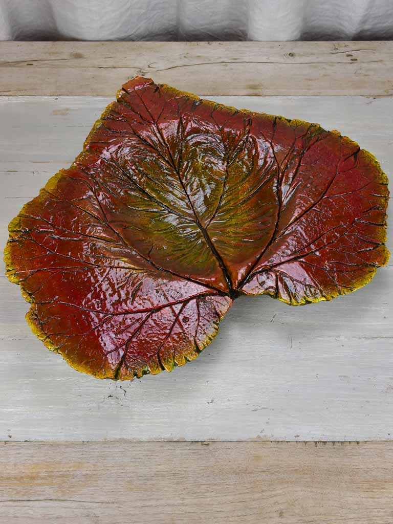 Large artisan made leaf bowl
