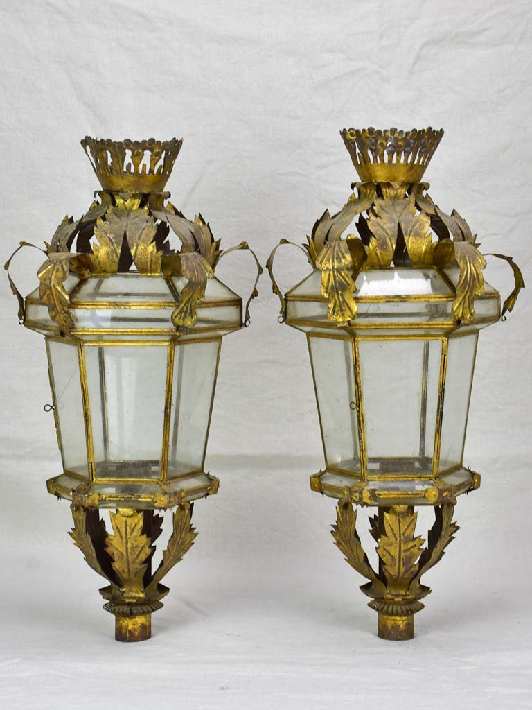 Pair of antique Spanish lanterns 22""