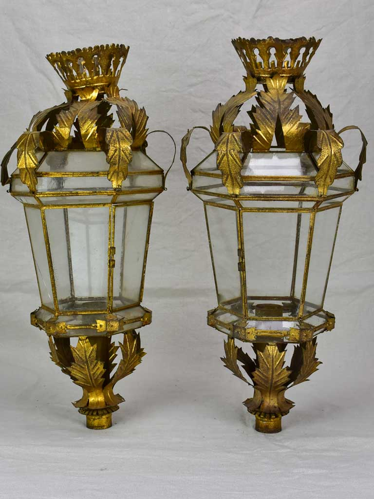 Pair of antique Spanish lanterns - brass 22¾""