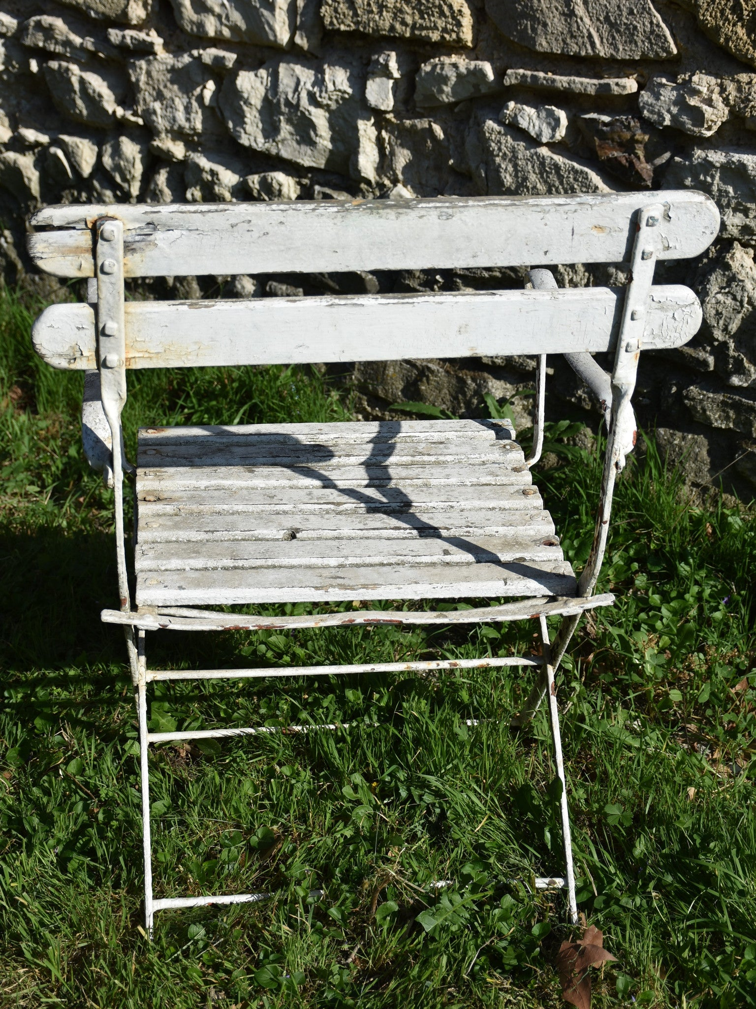 Pair of French garden armchairs - white