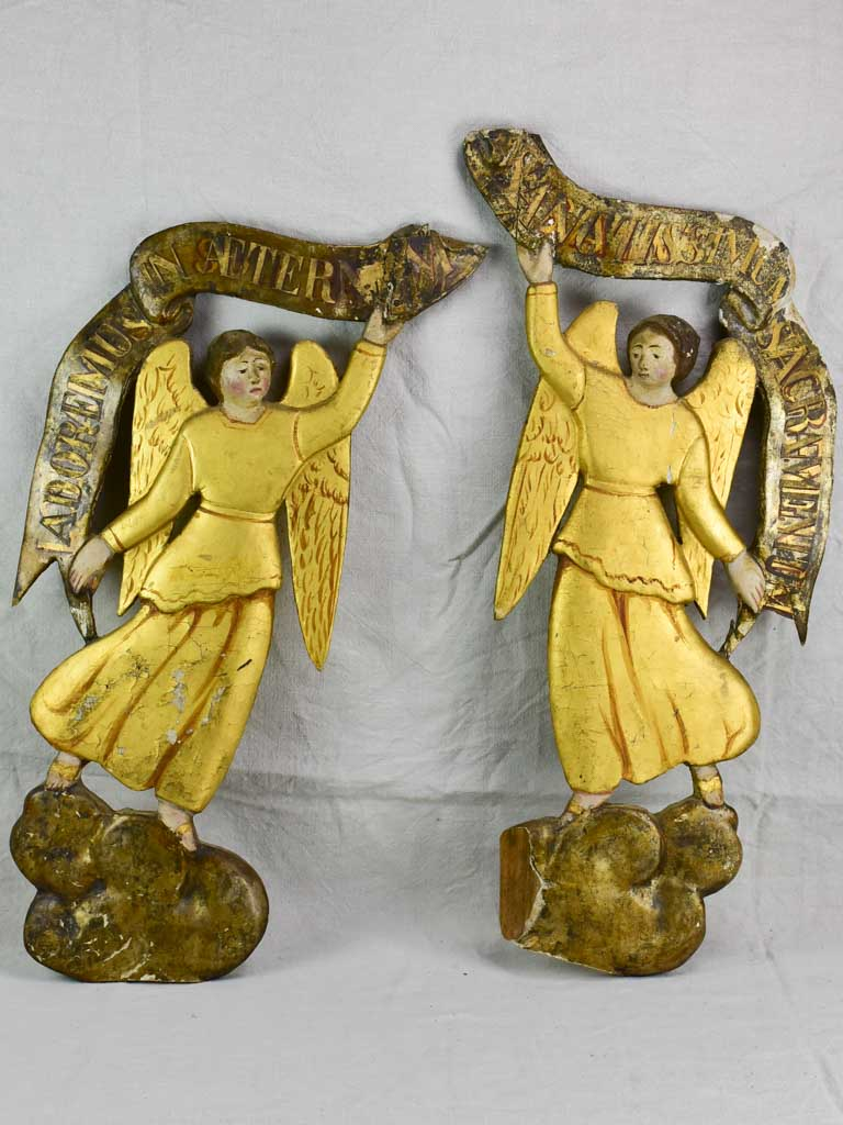Two antique French gilded angels from a church 33½""
