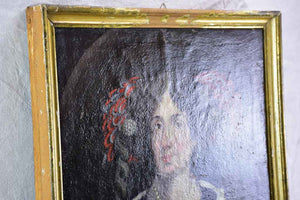 "Antique French portrait of a lady - rustic condition 25¼"" x 30¼"""