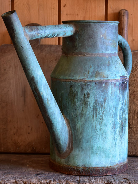 Antique French copper watering can with blue patina