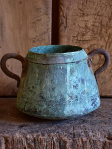 Antique French copper saucepan with blue patina - small