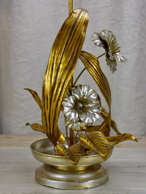 Vintage metal flower table lamp