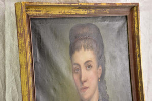 "Antique French portrait of a lady 24¾"" x 29¼"""