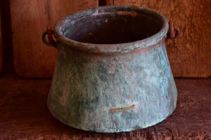 Antique French copper saucepans with blue patina - large