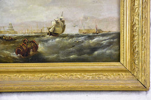 "Victorian oil on canvas - marine scene signed E. Hayes 1854 19"" x 15"""