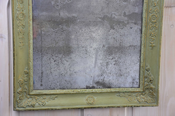 Antique French Directoire mirror with green patina