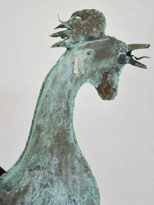 19th Century French weather-vane rooster - copper and iron 38¼""
