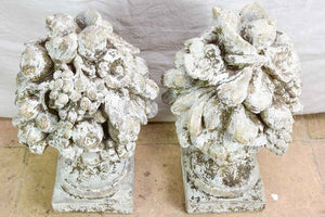 Pair of large vintage fruit basket finials with beige patina (18th Century style) 24""