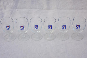 Set of six vintage Pastis 51 glasses