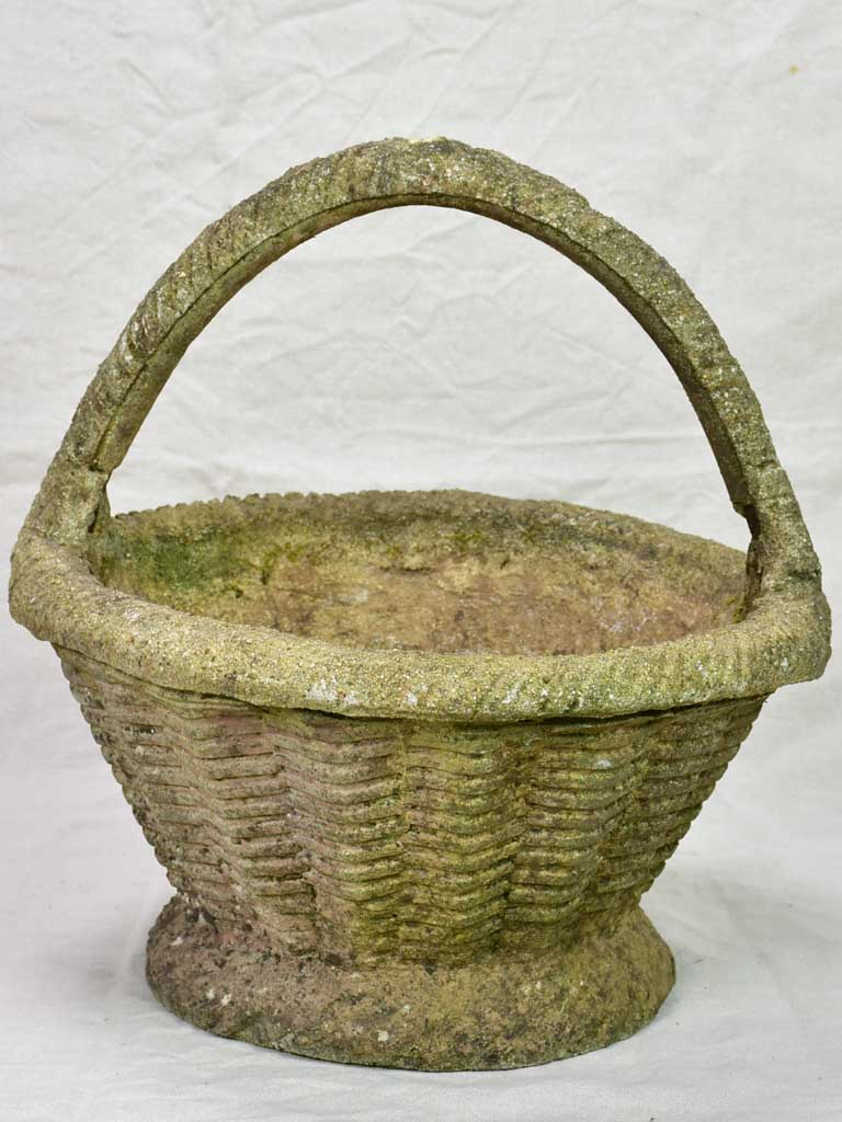 Vintage French garden planter / flower pot basket 17""