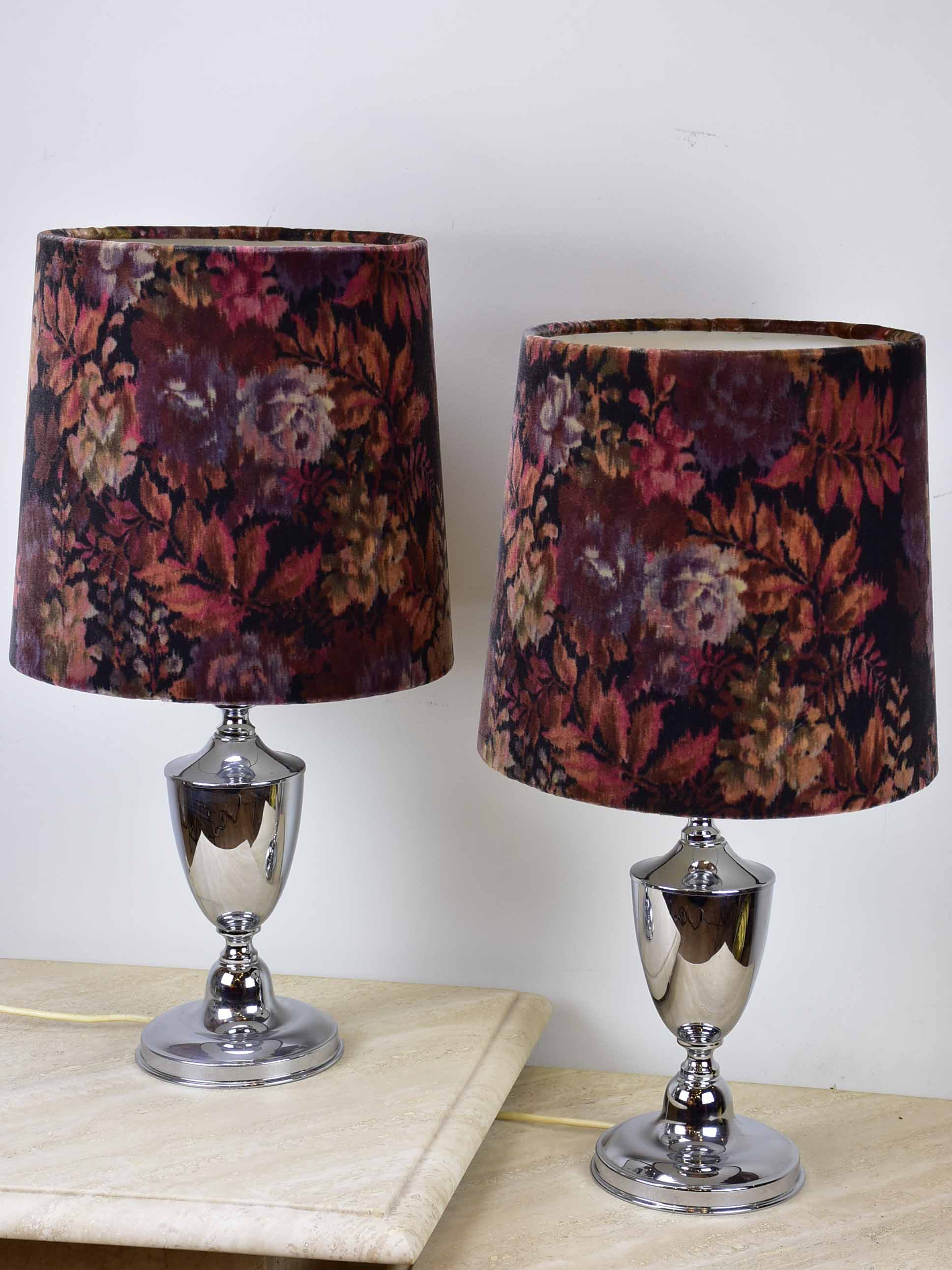 Pair of 1970's Ligne Roset lamps with velour Liberty lampshades