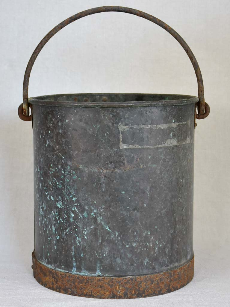 19th Century French copper bucket - black / blue / green patina 12½""