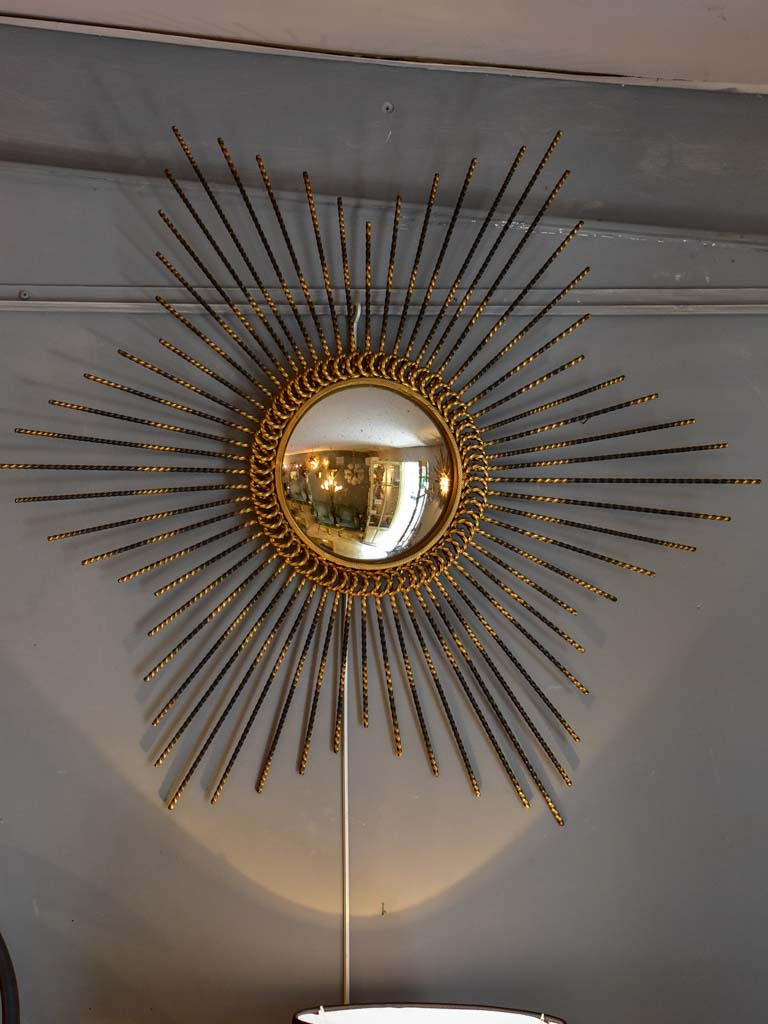 "Vintage sunburst mirror with convex glass 33½"" diameter"