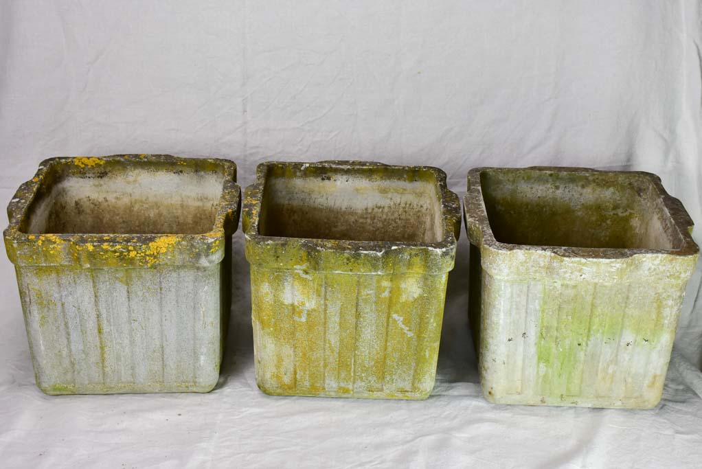 Set of three mid century Willy Guhl planters - square 17""