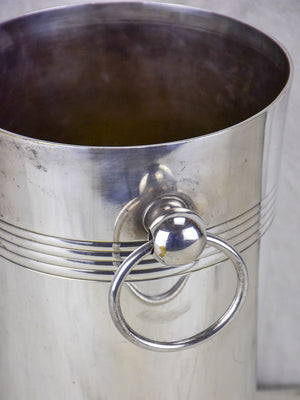 Tall silver plate Art Deco champagne bucket with handles