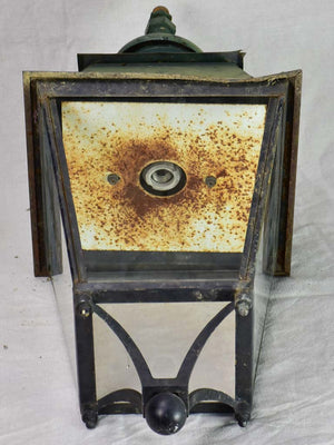 Pair of very large antique French lanterns with black and green patina