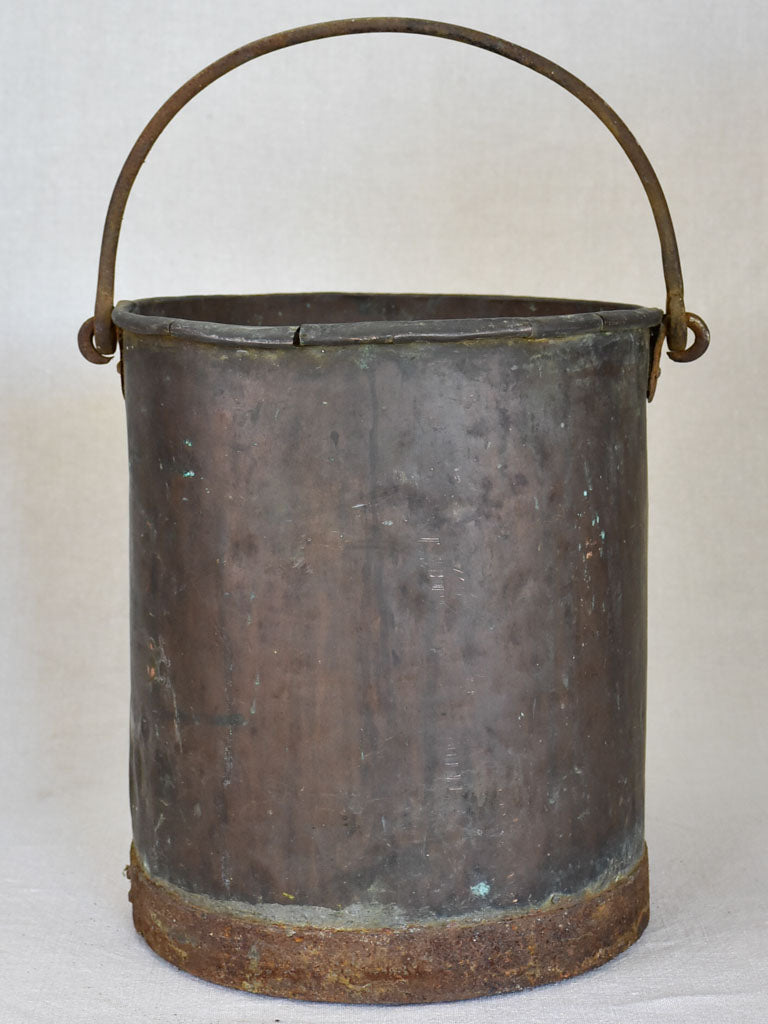 19th Century French copper winemaker's bucket with folded edge and burnt patina 13""