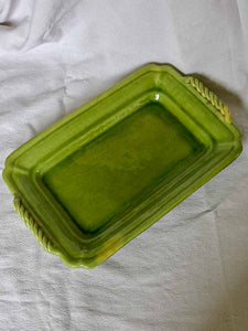 "Rectangular Biot platter with green glaze and twisted handles - 1940's 15"" x 9½"""