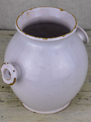 Antique French mustard pot with two handles - white