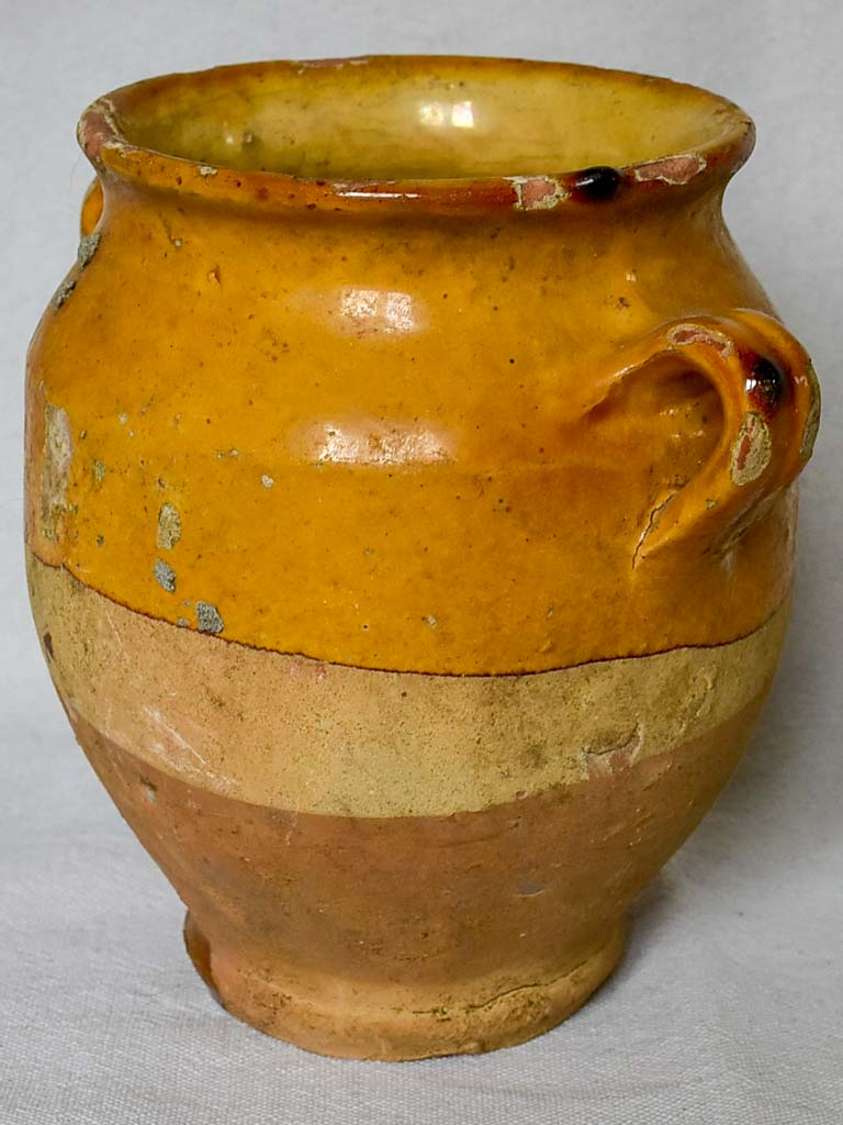 Small antique French confit pot with ocher glaze 6¼""