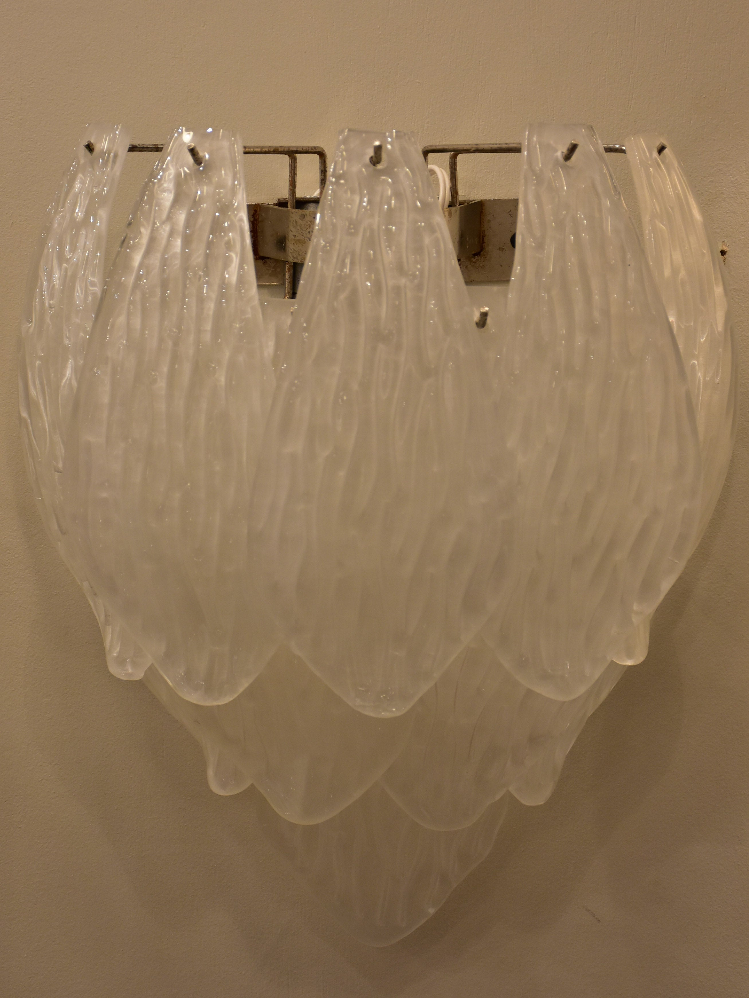 Pair of vintage Murano glass wall sconces - waterfall