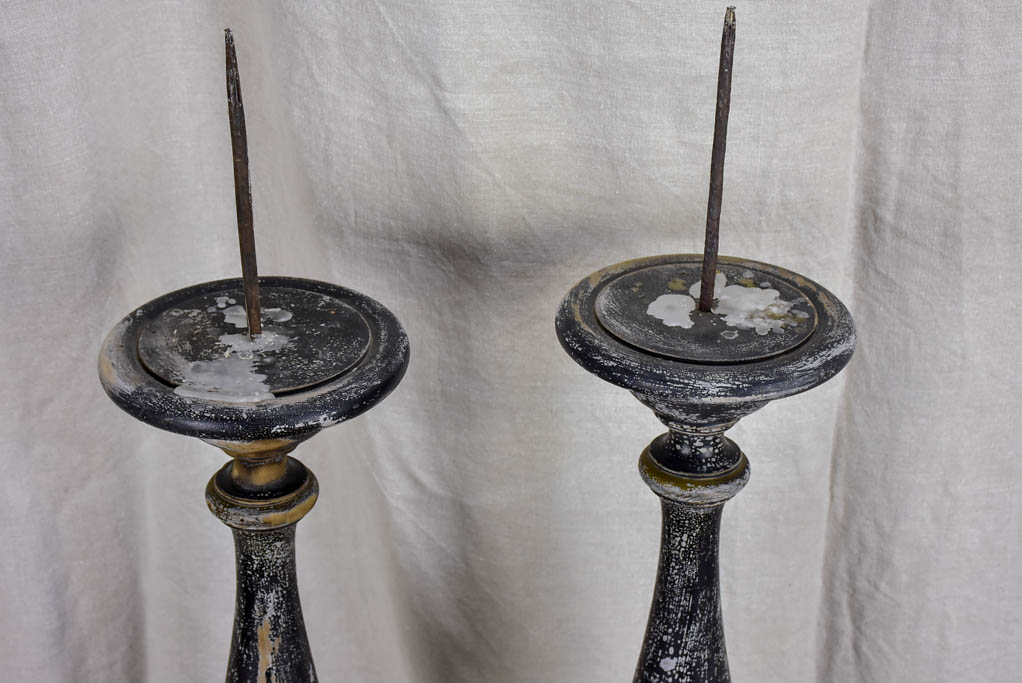 Very large pair of antique Italian candlesticks - 19th Century