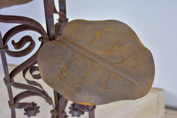 Antique French plant stand with lily pad leaves