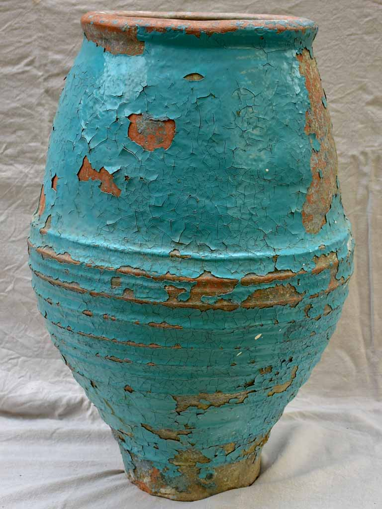Large 19th Century Mediterranean olive oil / wine jar with turquoise and terracotta patina 33¾""