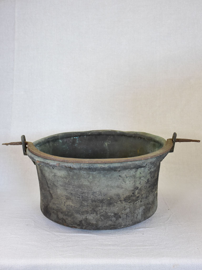 18th Century French winemaker's copper cauldron with large iron handle 19¼""