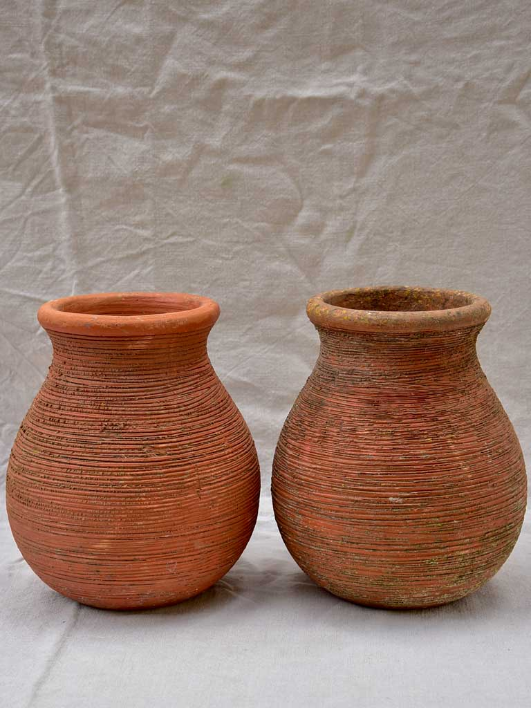 Pair of vintage terracotta planters 12½""