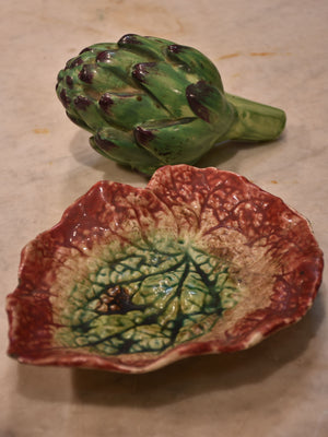 French Faience Majolica artichoke with leaf