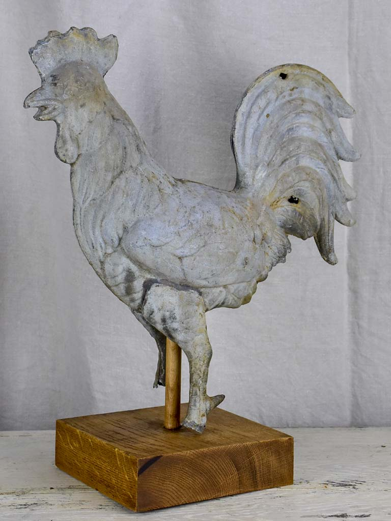 Antique French rooster from a bell tower / weathervane mounted on a wooden base