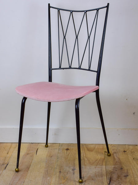Four Colette Gueden mid-century armchairs with pink upholstery