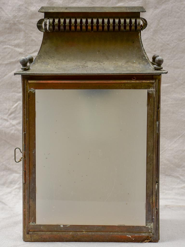 19th Century French wall sconce lantern with opaque glass Claude Leferbe Tayers France 17""