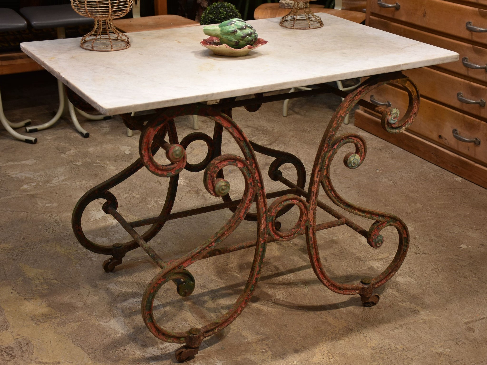 French antique butcher's table with marble top