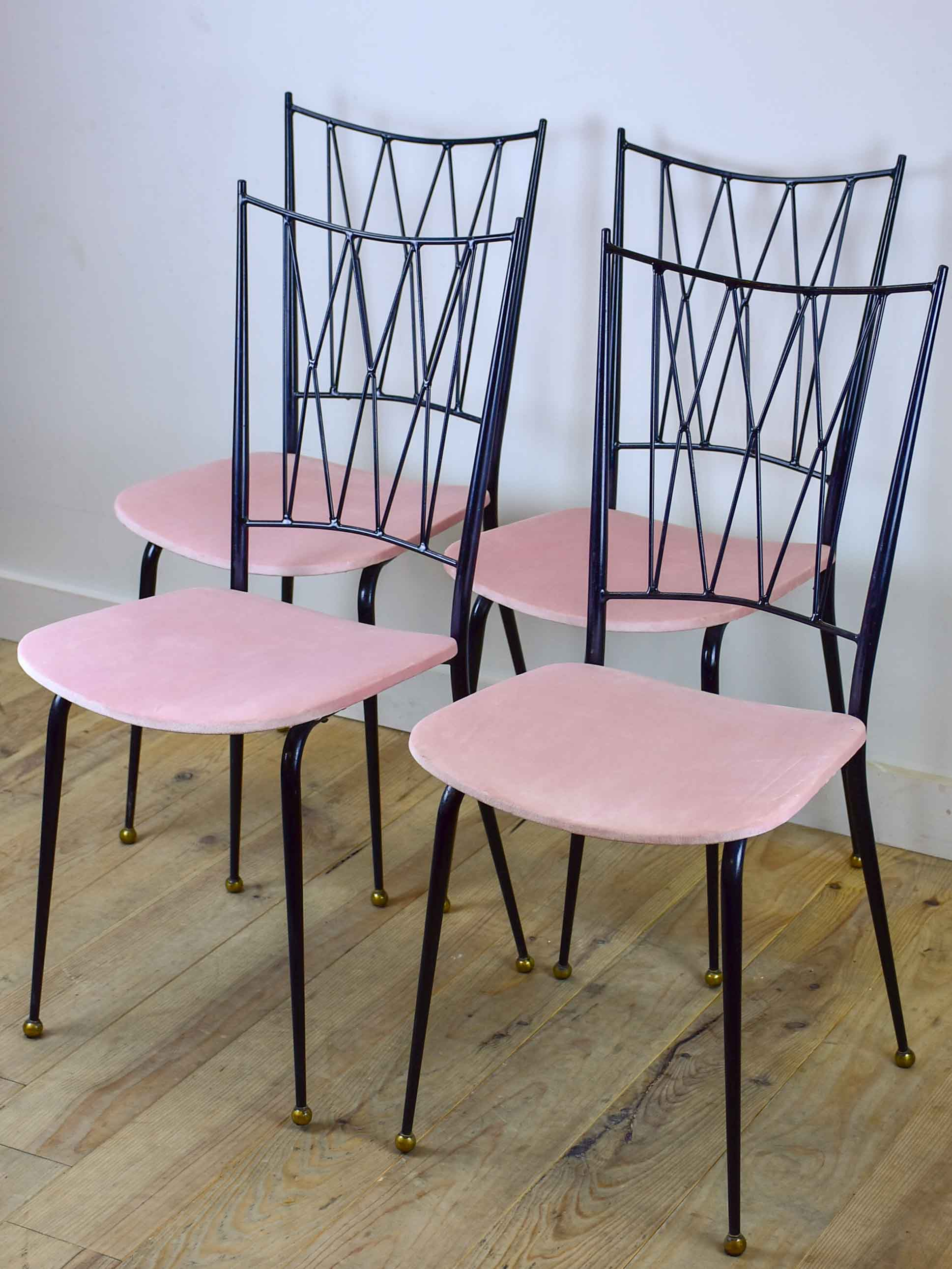 Four Colette Gueden mid-century dining chairs with pink upholstery