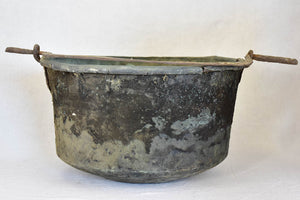 18th Century French winemaker's copper cauldron with black patina 21¼""