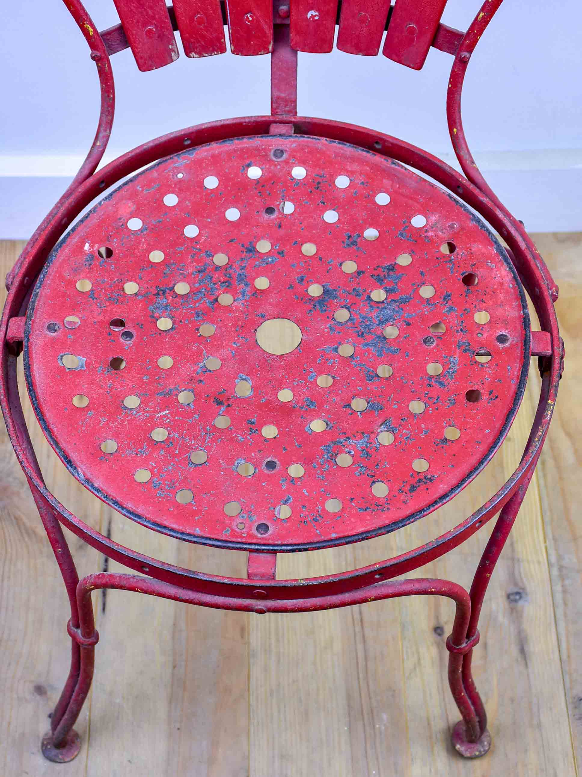 Antique French garden chair - red