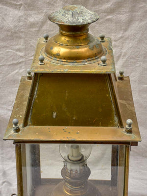 19th Century French wall sconce lantern with original oil lamp fitting - yellow copper 21¼""