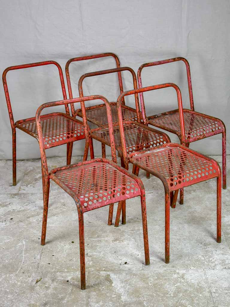 6 red outdoor garden chairs - Malaval, France, 1950s perforated metal