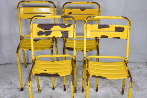 12 yellow metal 1950s Tolix chairs - stackable
