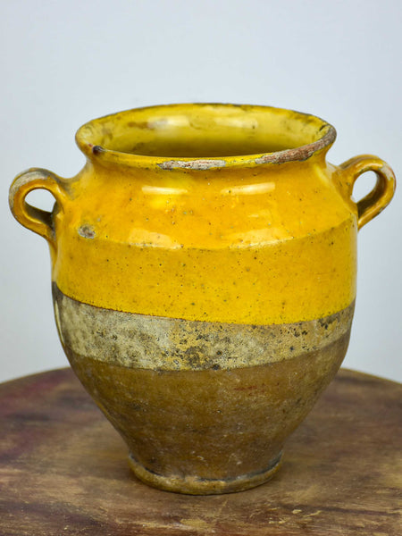 Small antique French confit pot with orange glaze - 7 ¼''