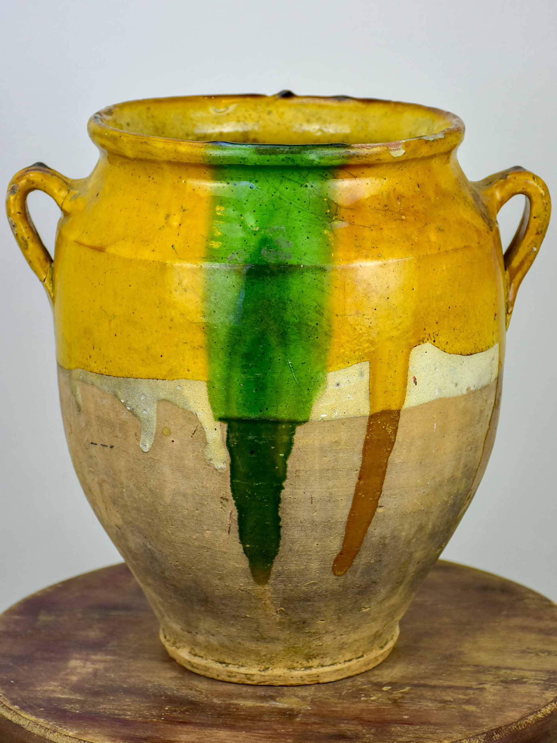 Antique French confit pot with orange and green glaze - 11 ½''