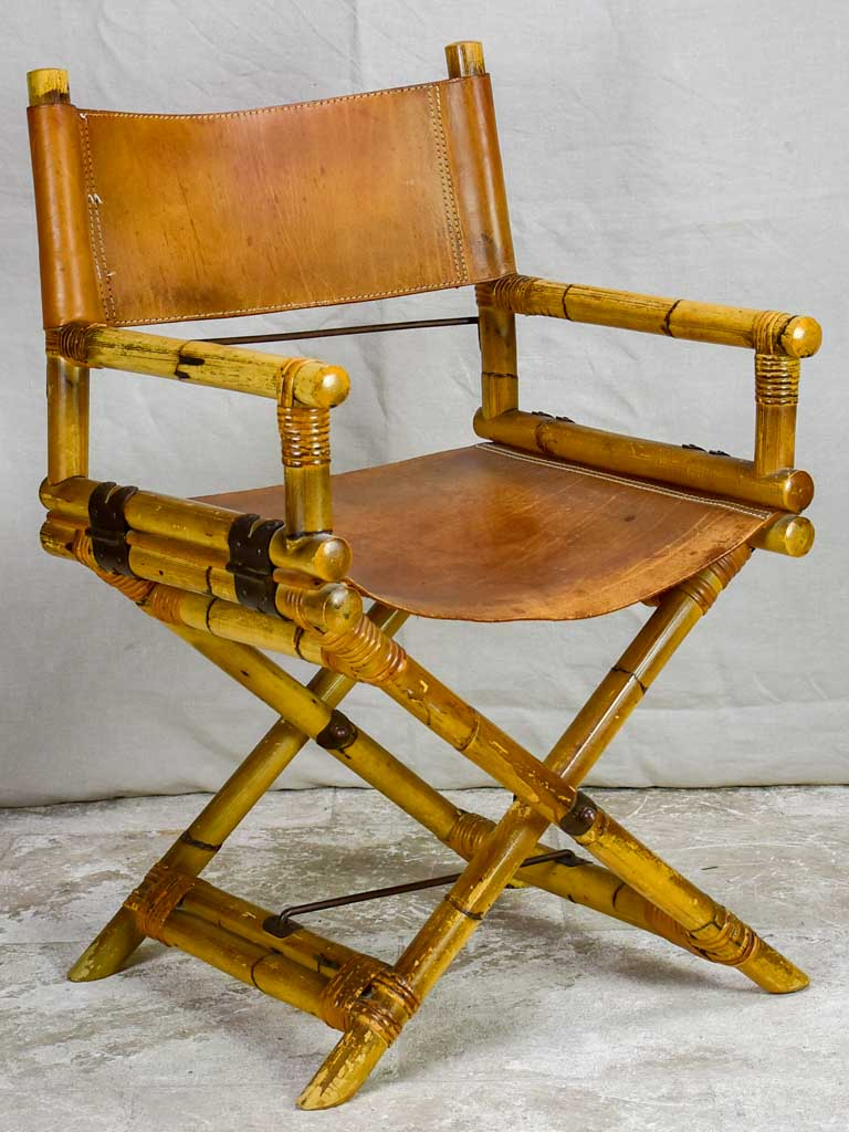 Antique folding bamboo and leather armchair